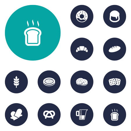 bretzel: Set Of 12 Bakery Icons Set.Collection Of Doughnut, Dessert, Snack And Other Elements. Illustration
