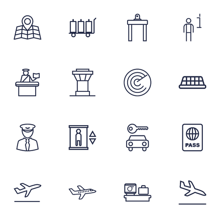 emigration and immigration: Set Of 16 Airplane Outline Icons Set.Collection Of Control Tower, Elevator, Pilot And Other Elements.