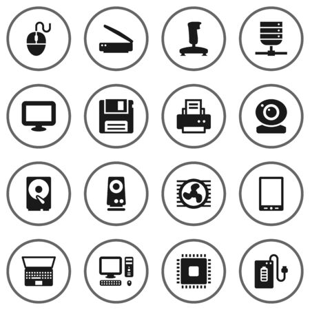 palmtop: Set Of 16 Notebook Icons Set.Collection Of Microprocessor, Photocopy, Palmtop And Other Elements.