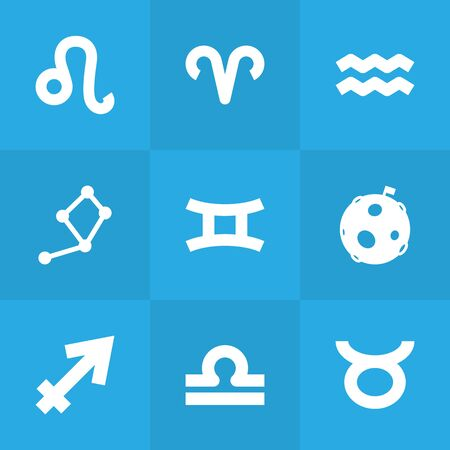 Set Of 9 Horoscope Icons Set.Collection Of Lunar, Water Bearer, Ram And Other Elements.