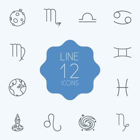 Set Of 12 Astronomy Outline Icons Set.Collection Of Globe, Scorpion, Leo And Other Elements.