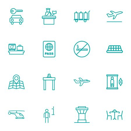 Set Of 16 Aircraft Outline Icons Set.Collection Of Certification, Cafe, No Smoking And Other Elements.