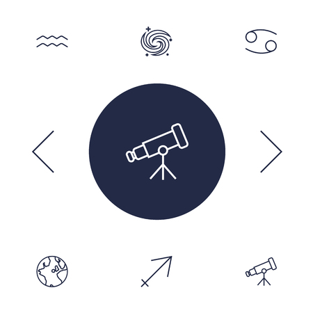 Set Of 6 Horoscope Outline Icons Set.Collection Of Cancer, Aqurius, Telescope And Other Elements.