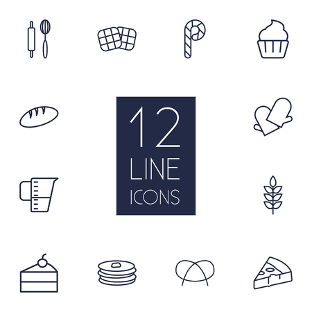 Set Of 12 Bakery Outline Icons Set.Collection Of Rolling Pin, Measuring Cup, Waffle And Other Elements. Illustration