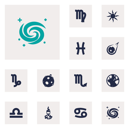 Set Of 12 Astronomy Icons Set.Collection Of Goat, Crab, Space And Other Elements.