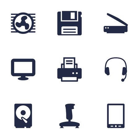 Set Of 9 Computer Icons Set.Collection Of Diskette, Display, Joystick And Other Elements.