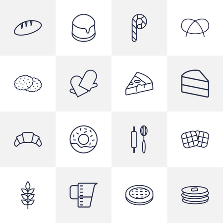 crispy: Set Of 16 Stove Outline Icons Set.Collection Of Apple Pie, Donuts, Bread And Other Elements. Illustration
