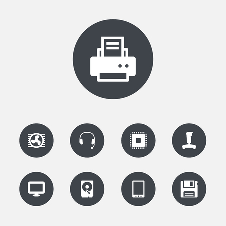 hdtv: Set Of 9 Notebook Icons Set.Collection Of Display, Microprocessor, Palmtop And Other Elements. Illustration