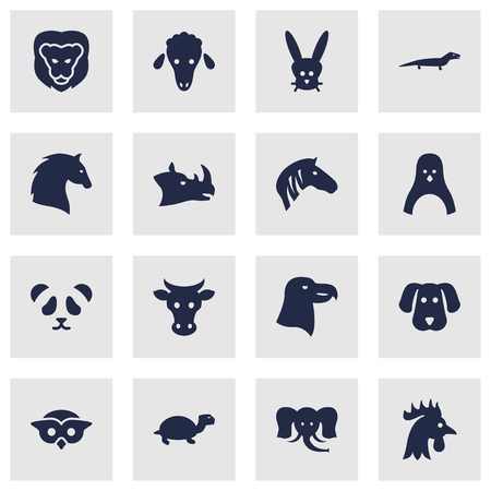 brute: Set Of 16 Brute Icons Set.Collection Of Aquila, Steed, Hound And Other Elements.