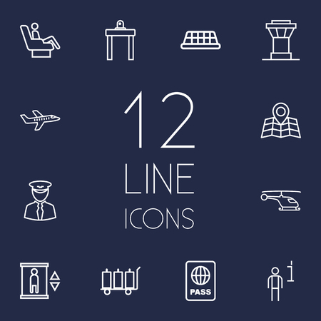 packet driver: Set Of 12 Airplane Outline Icons Set.Collection Of Control Tower, Elevator, Business Class And Other Elements. Illustration