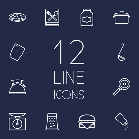 Set Of 12 Cooking Outline Icons Set.Collection Of Chopping Board, Scales, Salt And Other Elements. Vektorové ilustrace