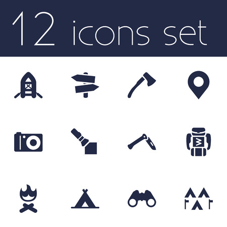 Set Of 12 Adventure Icons Set.Collection Of Optical Zoom, Signpost, Flashlight And Other Elements. Stock Vector - 77502732