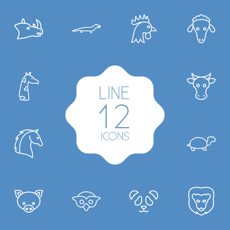 Set Of 12 Brute Outline Icons Set.Collection Of Cow, Feline Bear, Cock And Other Elements. Illustration