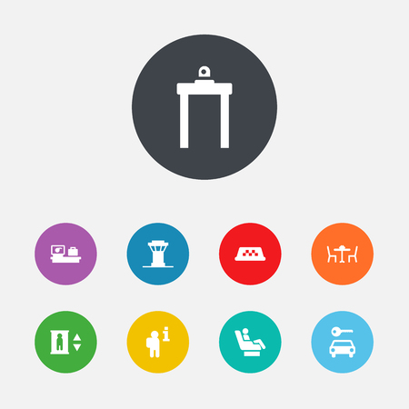 traffic controller: Set Of 9 Aircraft Icons Set.Collection Of Metal Detector, Vip, Air Traffic Controller And Other Elements. Illustration