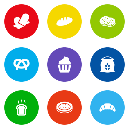 Set Of 9 Stove Icons Set.Collection Of Loaf, Dessert, Snack And Other Elements. Vettoriali