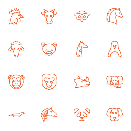 camelopard: Set Of 16 Alive Outline Icons Set.Collection Of Penguin, Giraffe, Owl And Other Elements. Illustration
