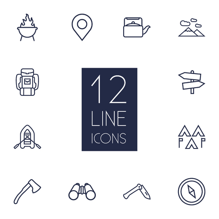 penknife: Set Of 12 Camping Outline Icons Set.Collection Of Penknife, Place Pointer, Binoculars And Other Elements.