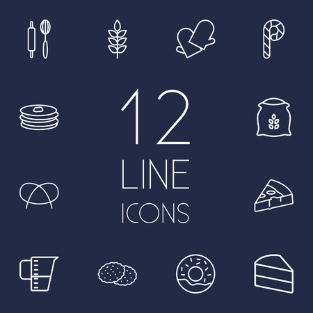 bretzel: Set Of 12  Outline Icons Set.Collection Of Candy Cane, Gloves, Cookie Elements.