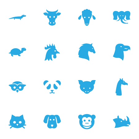 Set Of 16 Beast Icons Set.Collection Of Rhinoceros, Lamb, Hound And Other Elements.