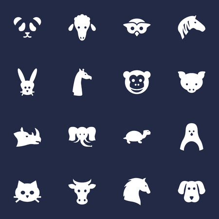 camelopard: Set Of 16 Brute Icons Set.Collection Of Camelopard, Lamb, Bunny And Other Elements.