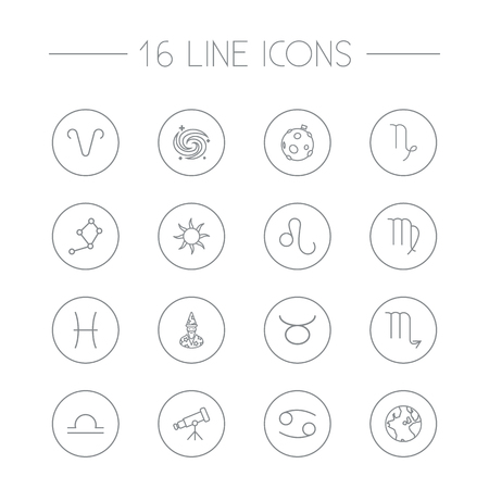 Set Of 16 Astronomy Outline Icons Set.Collection Of Aries, Libra, Astrologer And Other Elements.
