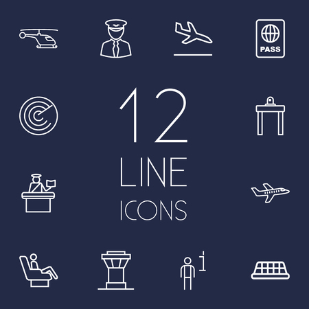 documentation: Set Of 12 Aircraft Outline Icons Set.Collection Of Data, Detection, Taxi And Other Elements.