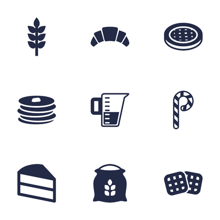 patisserie: Set Of 9  Icons Set.Collection Of Pastry, Sack, Grain And Other Elements.