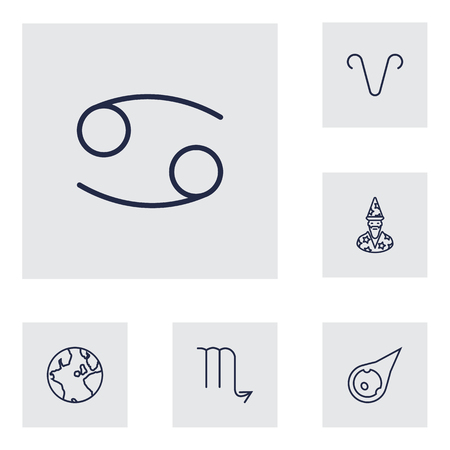 Set Of 6 Horoscope Outline Icons Set.Collection Of Globe, Astrologer, Aries And Other Elements. Illustration