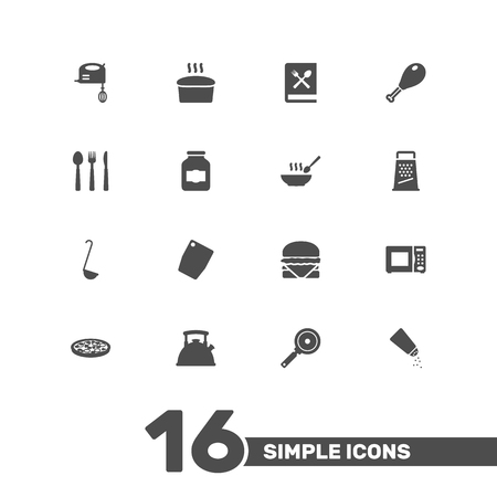 rasp: Set Of 16 Kitchen Icons Set.Collection Of Kitchen Rasp, Poultry Foot, Pepperoni And Other Elements. Illustration
