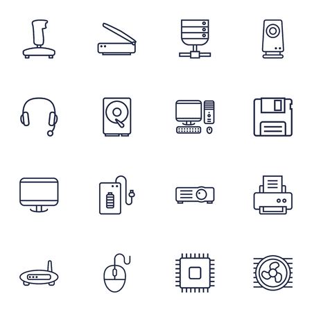 Set Of 16 Notebook Outline Icons Set.Collection Of Hdd, Printer, Gamepad And Other Elements. Illustration