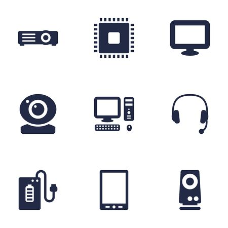 palmtop: Set Of 9 Notebook Icons Set.Collection Of Palmtop, Supply, Display And Other Elements.