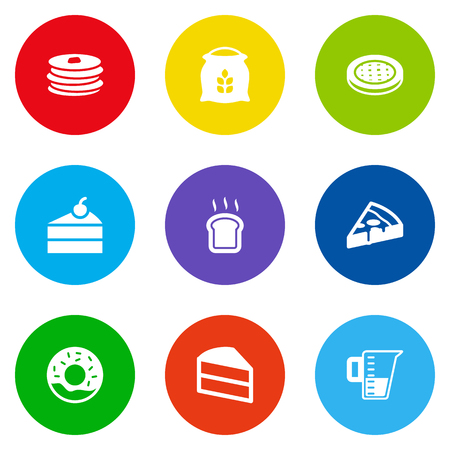 Set Of 9  Icons Set.Collection Of Sweetmeat, Cake, Doughnut And Other Elements.