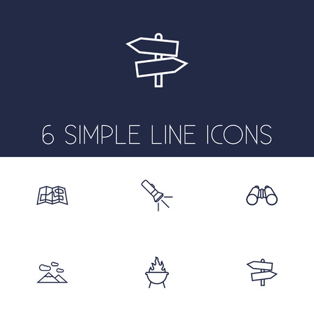 handheld device: Set Of 6 Outdoor Outline Icons Set.Collection Of Mountains, Gps, Grill And Other Elements.