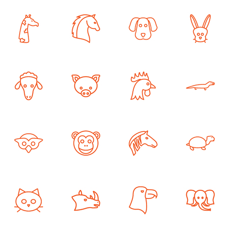 brute: Set Of 16 Brute Outline Icons Set.Collection Of Giraffe, Monkey, Mammal And Other Elements. Illustration