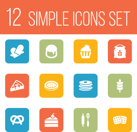 Set Of 12 Oven Icons Set.Collection Of Crepe, Muffin, Sack And Other Elements.