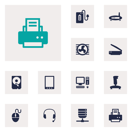 palmtop: Set Of 12 Notebook Icons Set.Collection Of Headset, Photocopy, Palmtop And Other Elements. Illustration