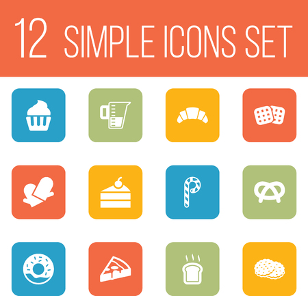 Set Of 12  Icons Set.Collection Of Shortcake, Wafer, Muffin And Other Elements. Vettoriali