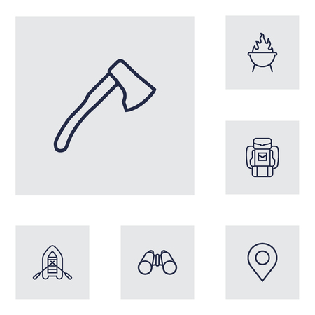 beach party: Set Of 6 Adventure Outline Icons Set.Collection Of Grill, Place Pointer, Rubber Boat And Other Elements.