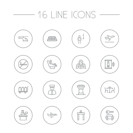 round chairs: Set Of 16 Airplane Outline Icons Set.Collection Of Plane, Passport Controller, Control Tower And Other Elements.