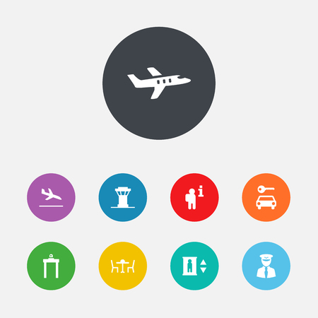 Set Of 9 Airplane Icons Set.Collection Of Air Traffic Controller, Letdown, Restaurant And Other Elements.