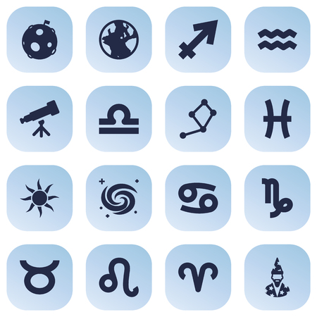 Set Of 16 Astrology Icons Set.Collection Of Space, Lion, Earth Planet And Other Elements. Иллюстрация