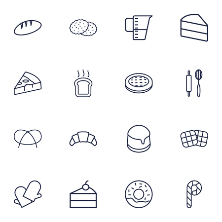 Set Of 16 Oven Outline Icons Set.Collection Of Rolling Pin, Measuring Cup, Donuts And Other Elements. Illustration