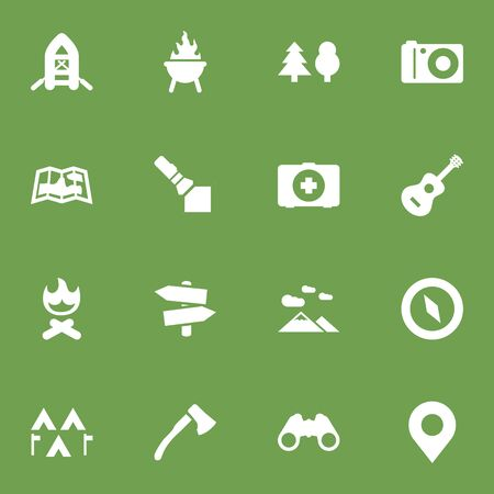 lite: Set Of 16 Camping Icons Set.Collection Of Map, Acoustic, Flashlight And Other Elements.