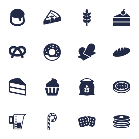 Set Of 16 Bakery Icons Set.Collection Of Pepperoni, Grain, Crepe And Other Elements.