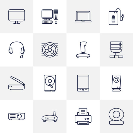 Set Of 16 Laptop Outline Icons Set.Collection Of Notebook, PC, Projector And Other Elements.