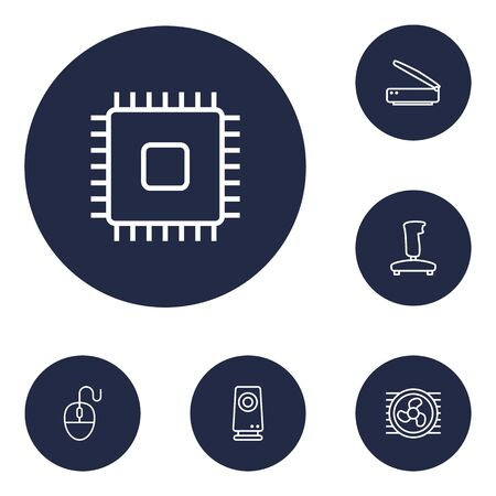 computerized: Set Of 6 Notebook Outline Icons Set.Collection Of Speaker, Cooler, Cpu And Other Elements. Illustration