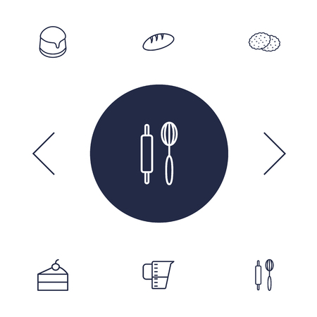 Set Of 6 Cook Outline Icons Set.Collection Of Cookie, Measuring Cup, Pudding And Other Elements. Illustration