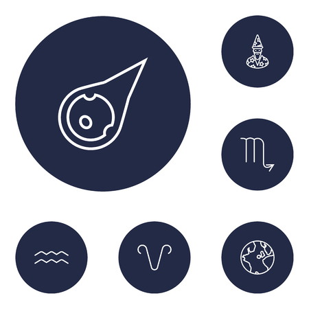 Set Of 6 Astronomy Outline Icons Set.Collection Of Aries, Asteroid, Aqurius And Other Elements.