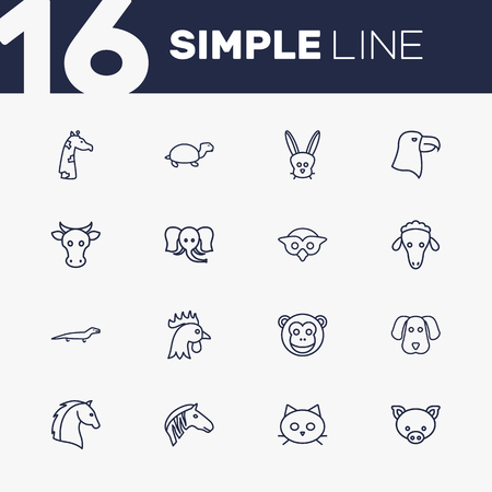 Set Of 16 Alive Outline Icons Set.Collection Of Lizard, Owl, Giraffe And Other Elements.