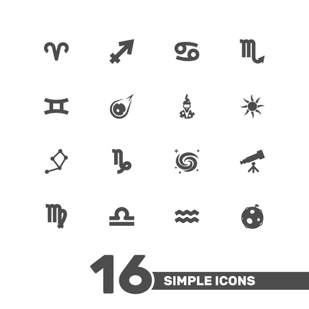 Set Of 16 Horoscope Icons Set.Collection Of Archer, Space, Water Bearer And Other Elements. Illustration